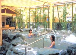 さくらの湯の露天エリアでは岩風呂のほかに2種類のひのき風呂を用意