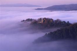 雲海の中に浮かぶ幻想的な姿の備中松山城