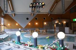 浴槽の中央には浮島風の休憩スペースが