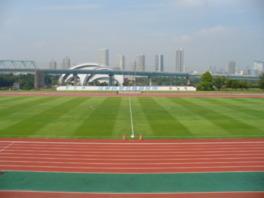 メインスタンドより眺めた、晴れの日の爽やかな競技場