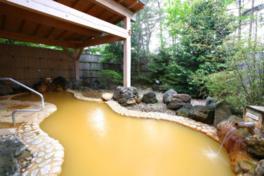 美肌効果もある茶褐色の温泉露天風呂でリラックス