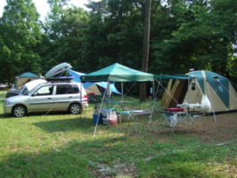 木々に囲まれたオートキャンプサイト