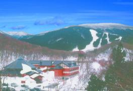 比婆山連峰やブナ林の樹氷を眺めながら、快適な滑りが楽しめる。