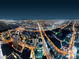 パノラミックに広がる大阪の夜景も圧巻