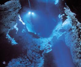 第3地底湖は公開している観光コースの最も奥にあり、最深部の水深は98m