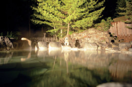 湯面に浮かぶ明かりに心が落ち着く夜の大露天風呂