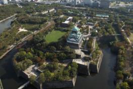大阪城が見える自然あふれる公園
