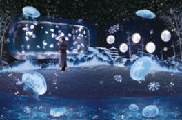 冬を楽しむインタラクティブアート「雪とくらげ」