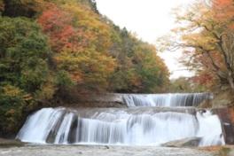 滝と紅葉のコントラストが美しい
