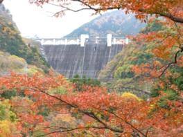 ダムから秩父の紅葉を楽しむことができる