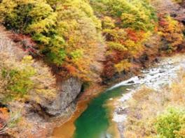 紅葉とエメラルドグリーンの川面