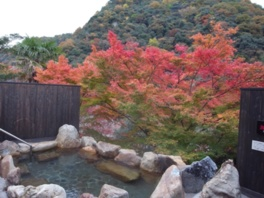 大浴場露天風呂から眺める紅葉が鮮やか
