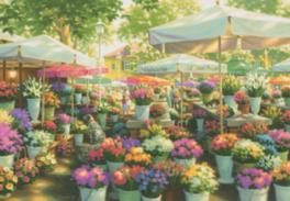 花の絵に囲まれる幸福感に満たされて