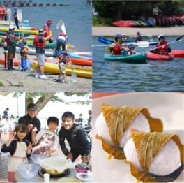 春の琵琶湖で桜餅づくり、カヤック体験!