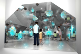 金魚と万華鏡を組み合わせた新感覚の展示ブース