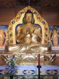 荘厳なダライ・ラマ法王開眼のチベット大仏