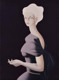 ドレスアップした戦後の女性像を描いた作品「バイオレット」