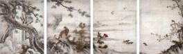 重要文化財 四季花鳥図 狩野元信筆 八幅のうち四幅 室町時代 16世紀 京都・大仙院