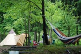 静かな森野中、清流近くにあるキャンプ場