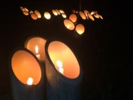 竹灯籠と一万本の線香花火