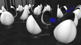 タマゴ型の宇宙船がより一層非日常的な雰囲気を演出する