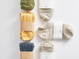 落ちわたを再生させた上質な糸で編んだ帽子や靴下などを紹介