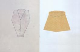 衣服などが独特の表現と線で描かれた新作