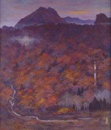 展示される日本画家、岩澤重夫の作品