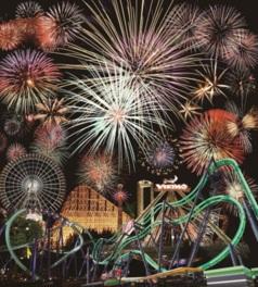 遊園地の華やかな夜景をバックに夜空に満開の花火が上がる