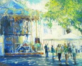 村田旭の油彩画「休日のアヴィニョン」