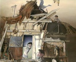 本展では、生命の気配が揺らぎ反転する絵画、人形、版画を観覧できる