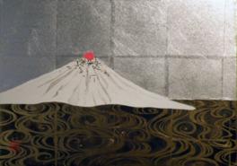 羊蹄山をお茶漬けに見立て、琳派の様式で描いた日本画