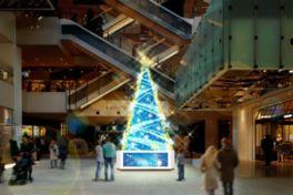 クリスマスツリーを映像と光と音楽で演出