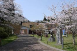 桜の名所として知られる館外には彫刻展示も