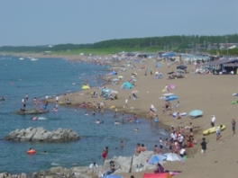海水浴シーズンは大勢の客で賑わう