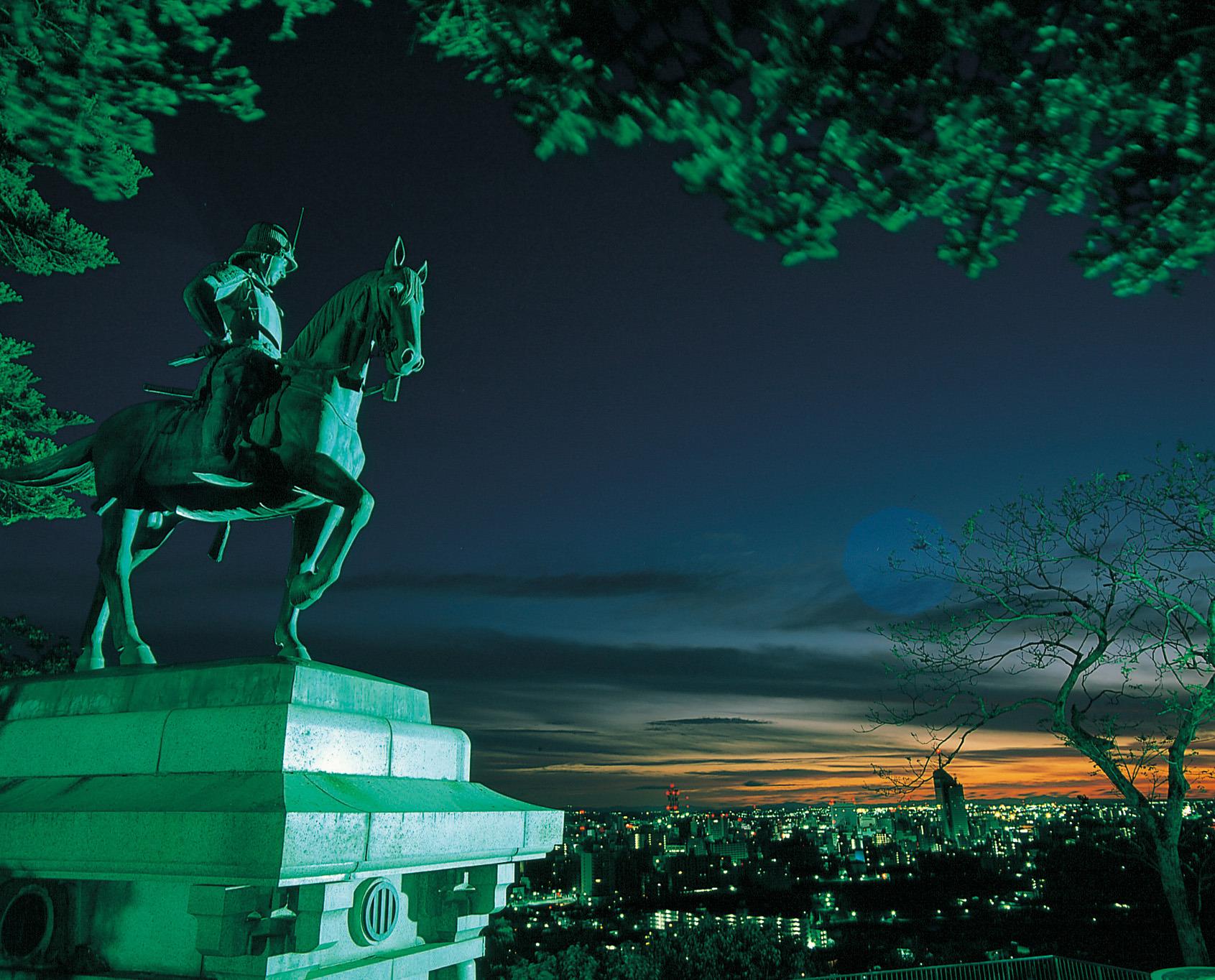 騎馬像から見た仙台市街