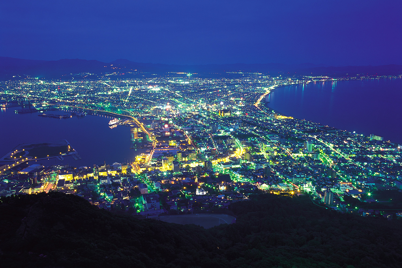 光をちりばめた扇のような函館市街地の夜景