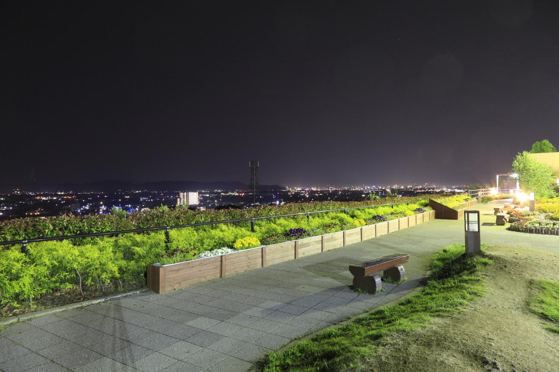 森の庭から眺めた和歌山市内の夜景