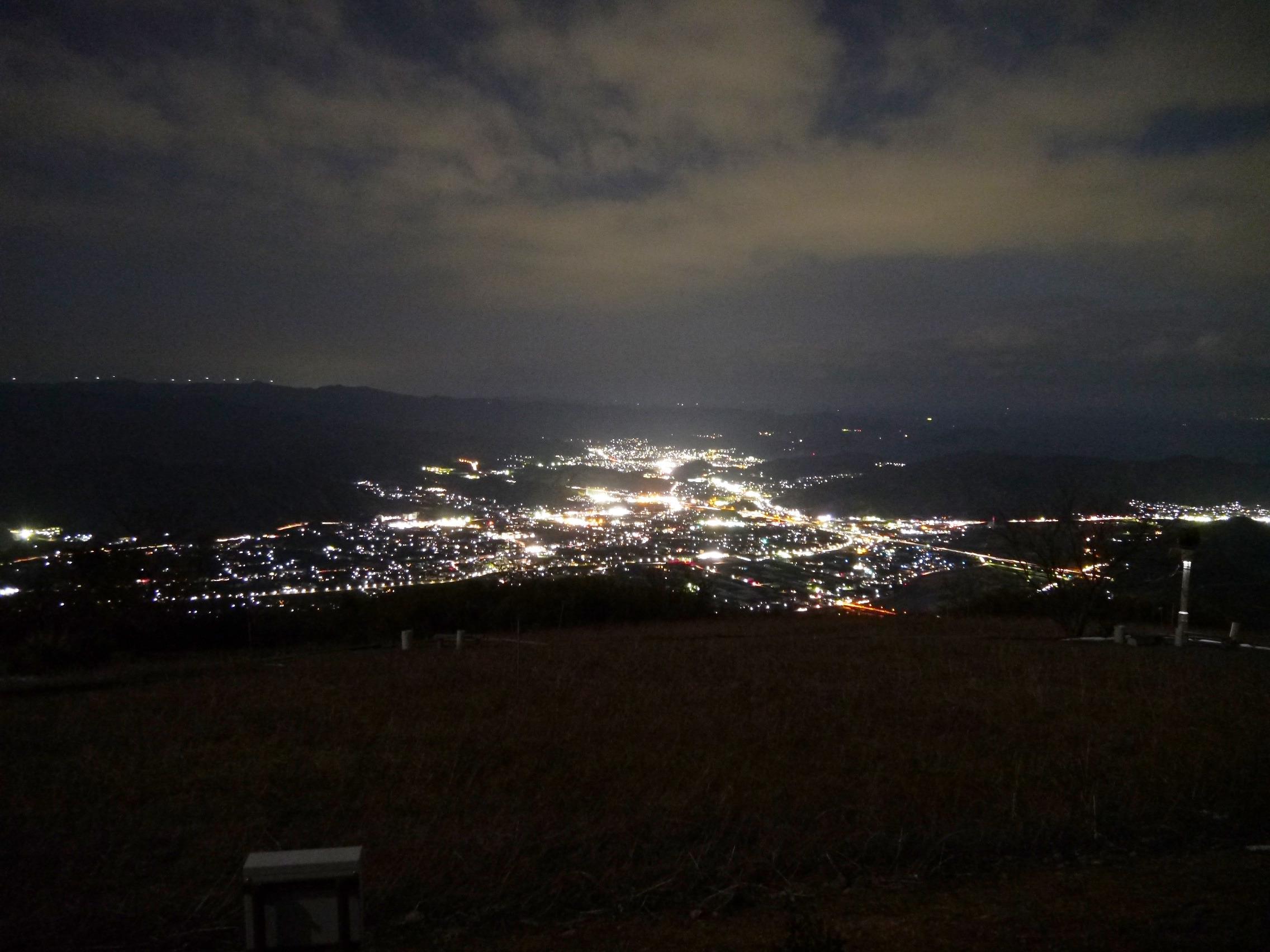 コスモスの向こうに有田平野の夜景と夕日に染まる紀伊水道が見える