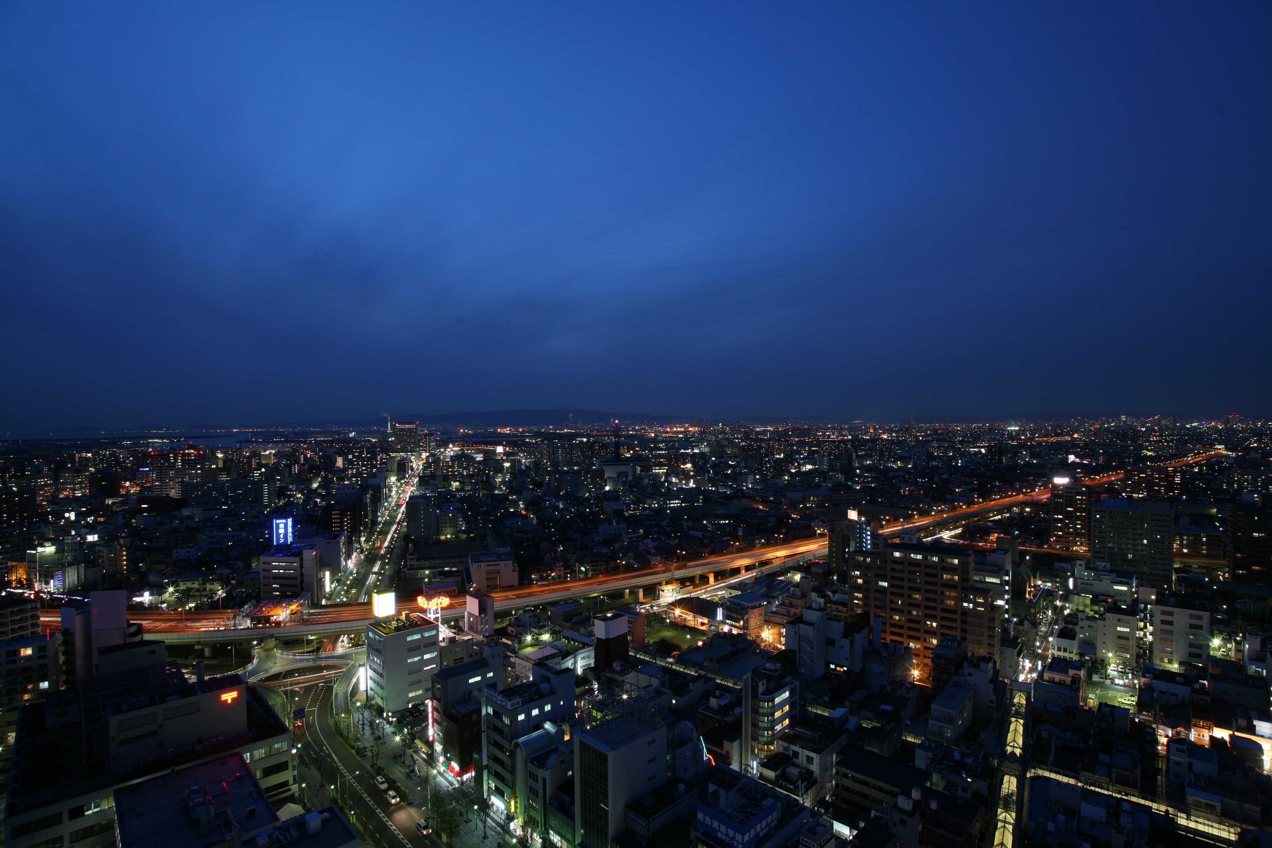 阪神高速堺線と堺の街の夜景を眼下に見る