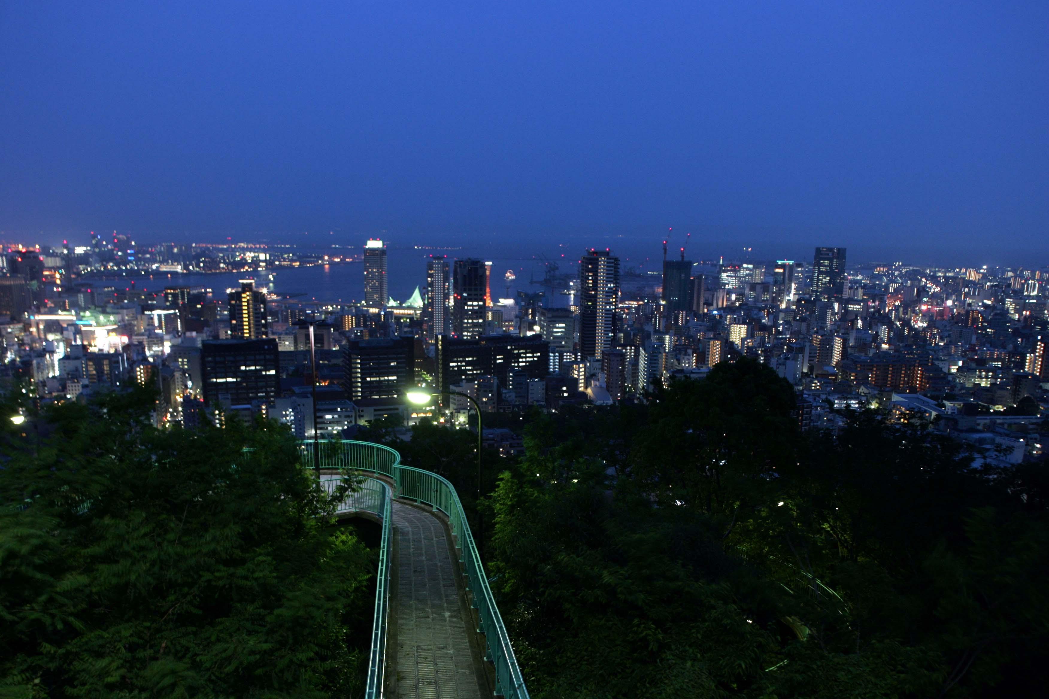 諏訪山の緑の向こうに広がる神戸市街の夜景